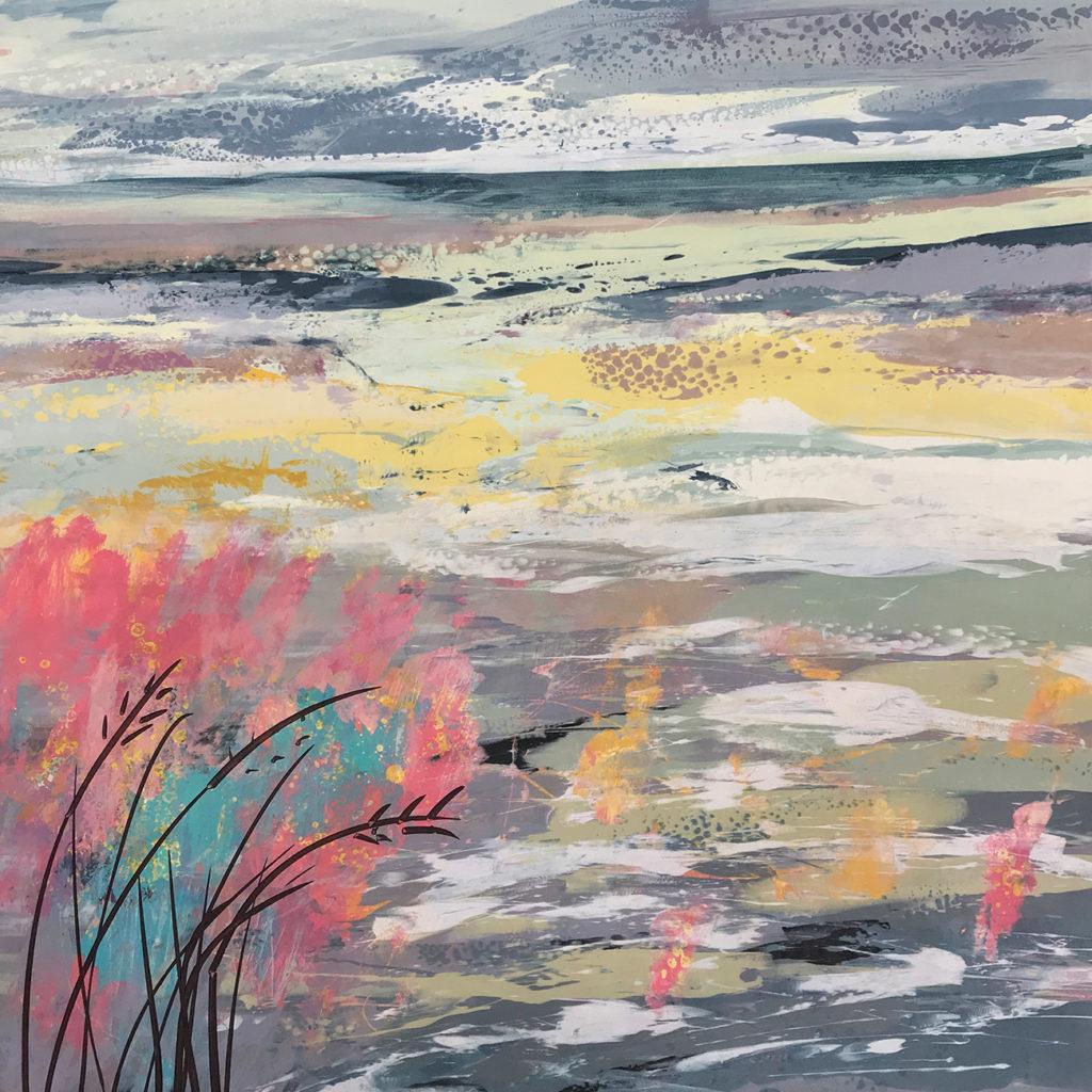 Japanese Landscape Silkscreen Painting Gail Mason