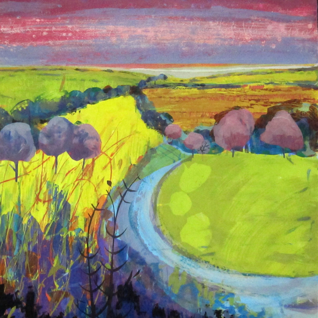 River Blossom Silkscreen Painting Gail Mason