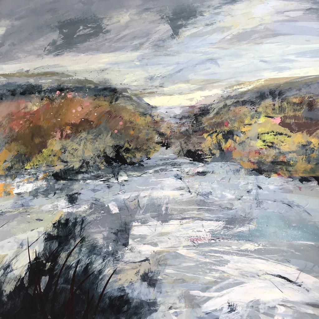 River Rain Silkscreen Painting Gail Mason