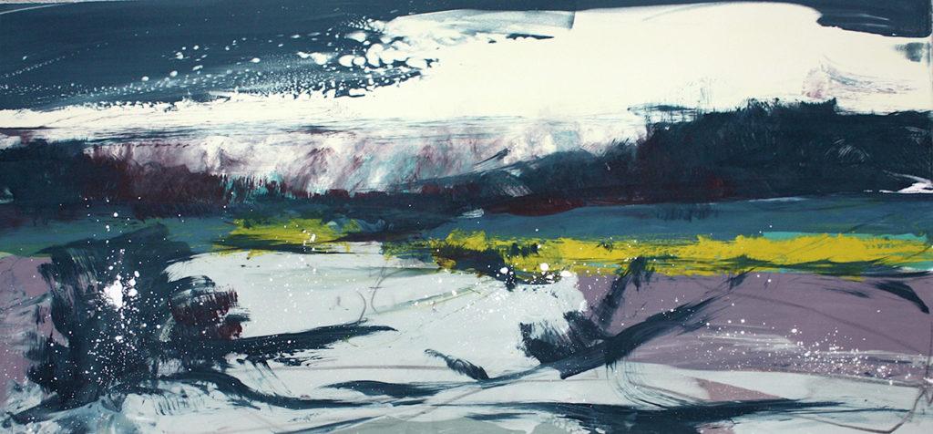 Skating Pool I Silkscreen Painting Gail Mason