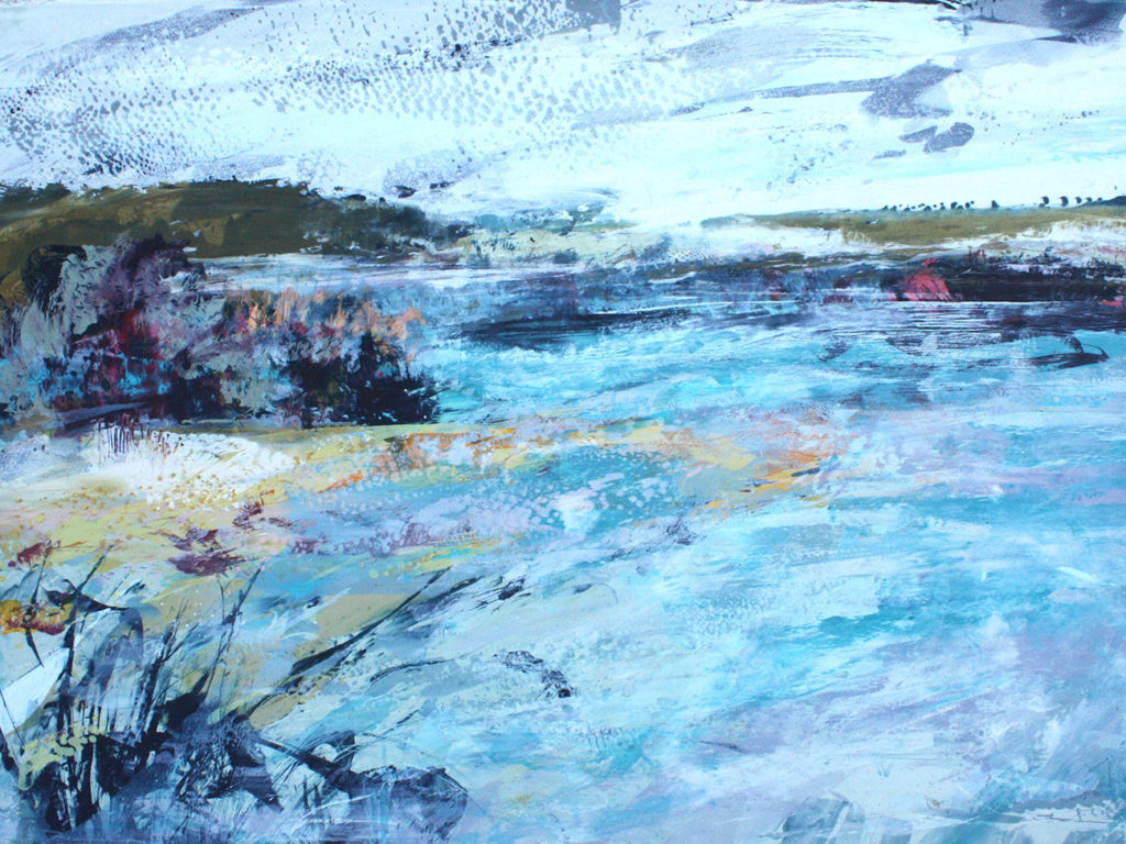 Tides Reach Silkscreen Painting Gail Mason