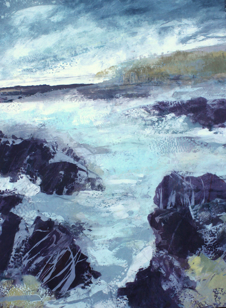 Where The Boulders Break Silkscreen Painting Gail Mason