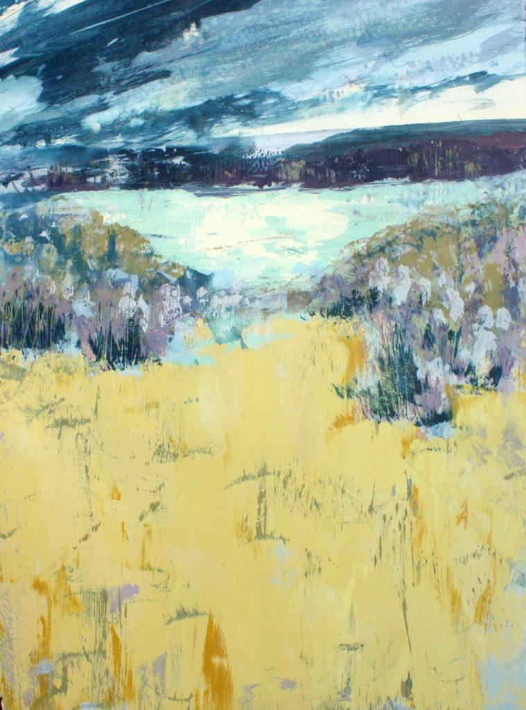 Yellow Field Silkscreen Painting Gail Mason