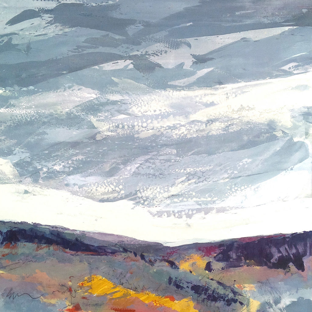 Low Hills Silkscreen Painting Gail Mason