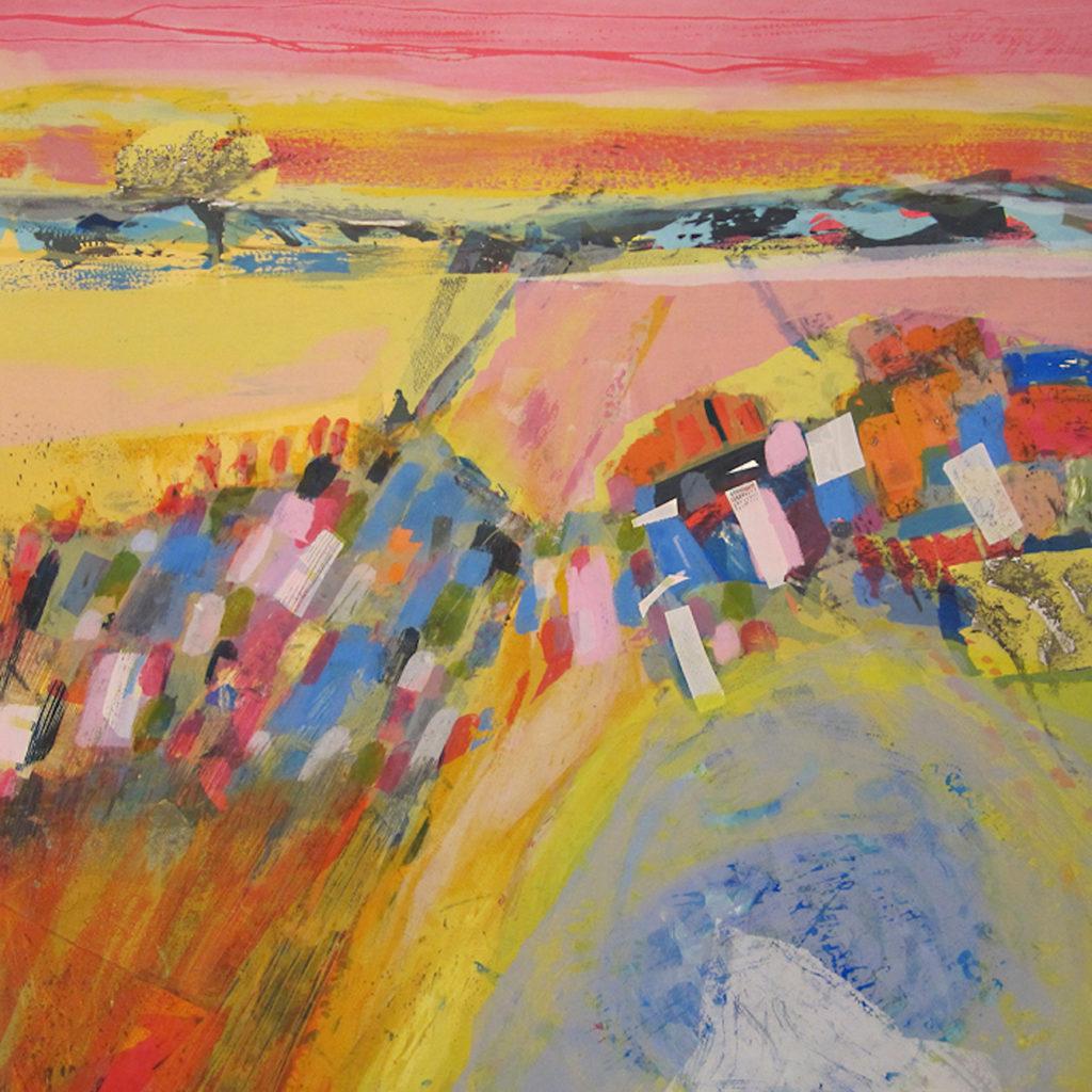 Rip Tide Silkscreen Painting Gail Mason