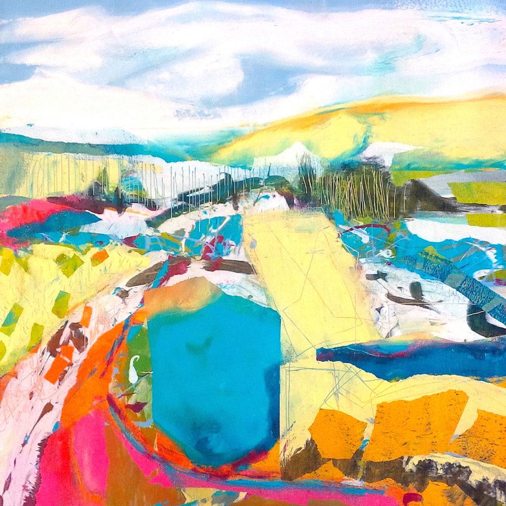 Spring Walk Silkscreen Painting Gail Mason