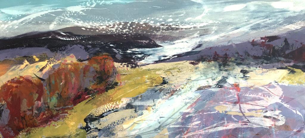 Autumn Breeze Silkscreen Painting Gail Mason