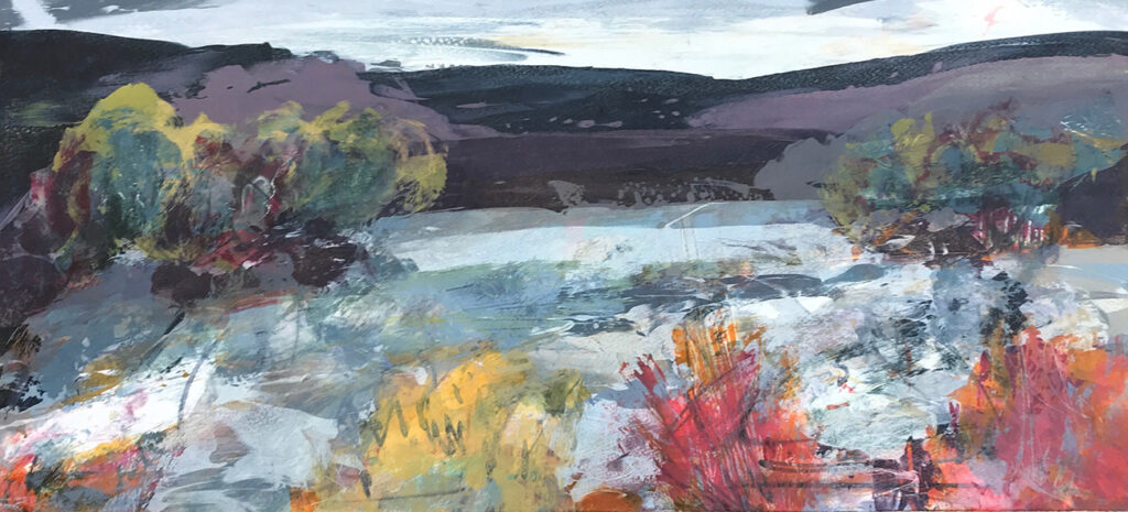 Autumn River Silkscreen Painting Gail Mason