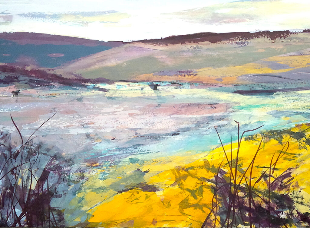 Discovered Land Silkscreen Painting Gail Mason