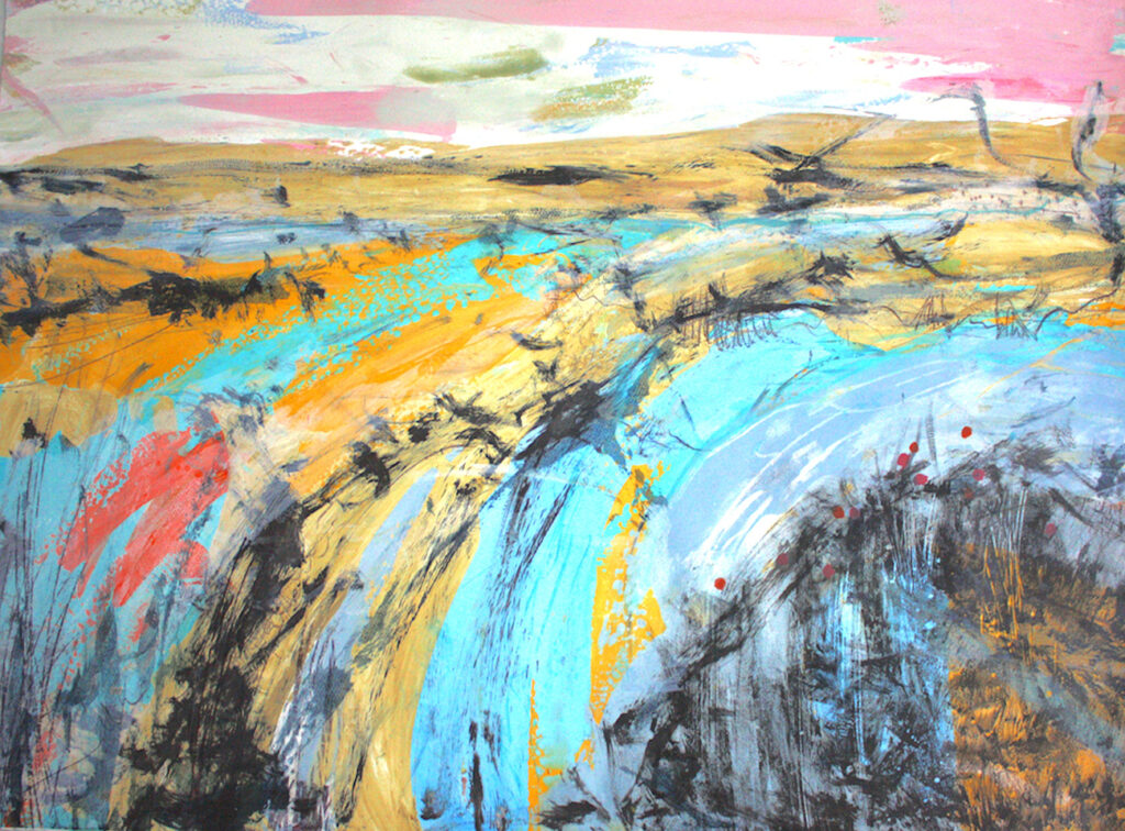 Estuary Silkscreen Painting Gail Mason