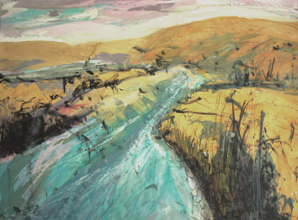Estuary ii Silkscreen Painting Gail Mason