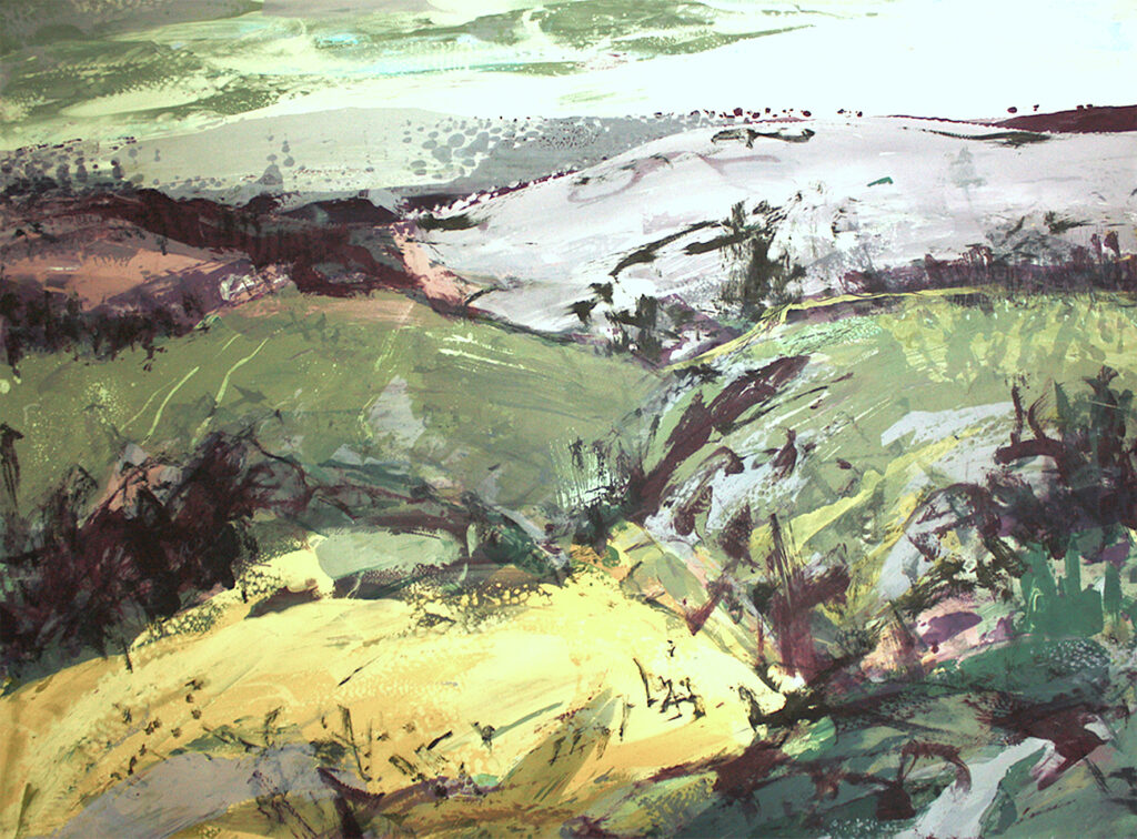 Highlands i Silkscreen Painting Gail Mason