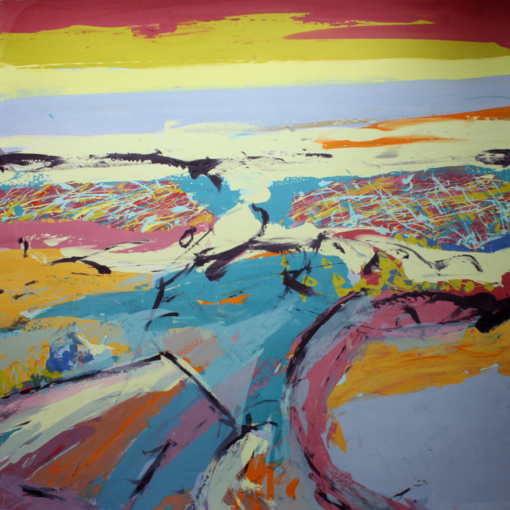 Long Walk i Silkscreen Painting Gail Mason