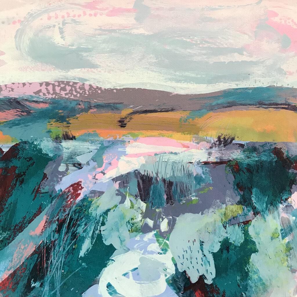 New World ii Silkscreen Painting Gail Mason