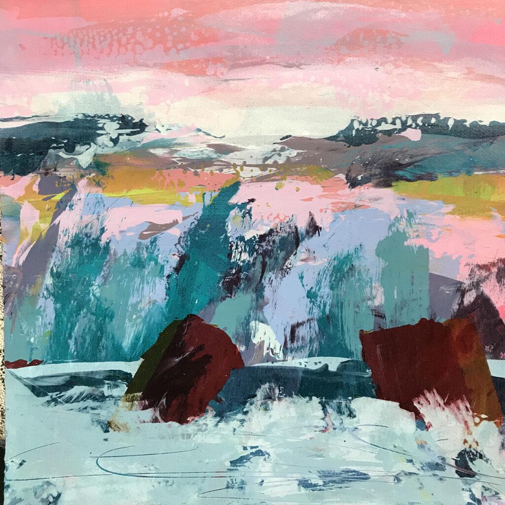 New World I Silkscreen Painting Gail Mason
