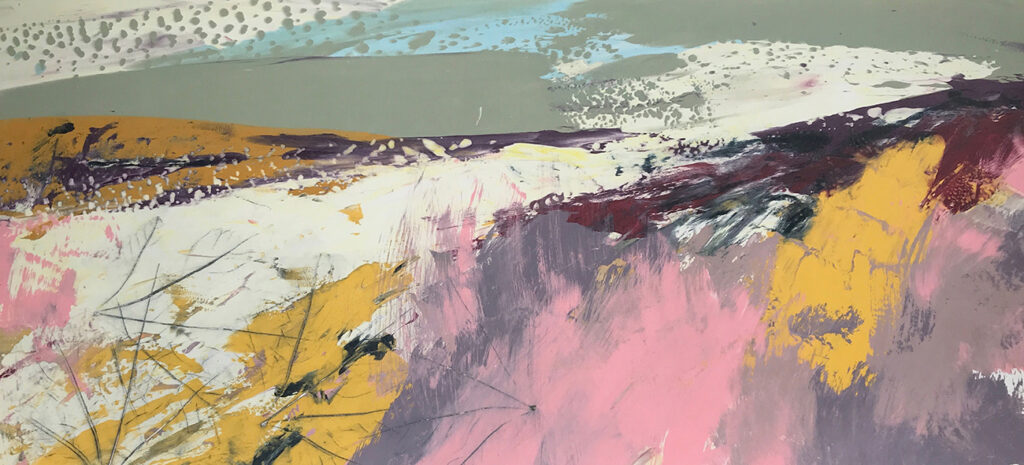 Pink Day Silkscreen Painting Gail Mason