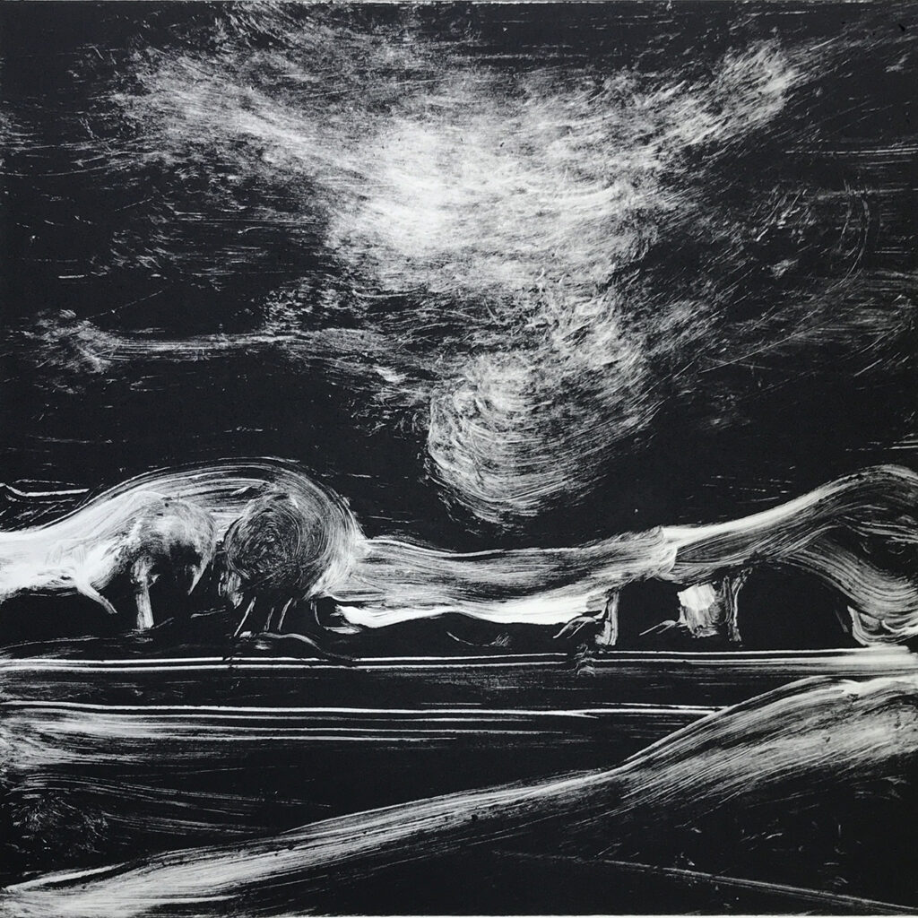 Night Drift Oil Monotype Gail Mason