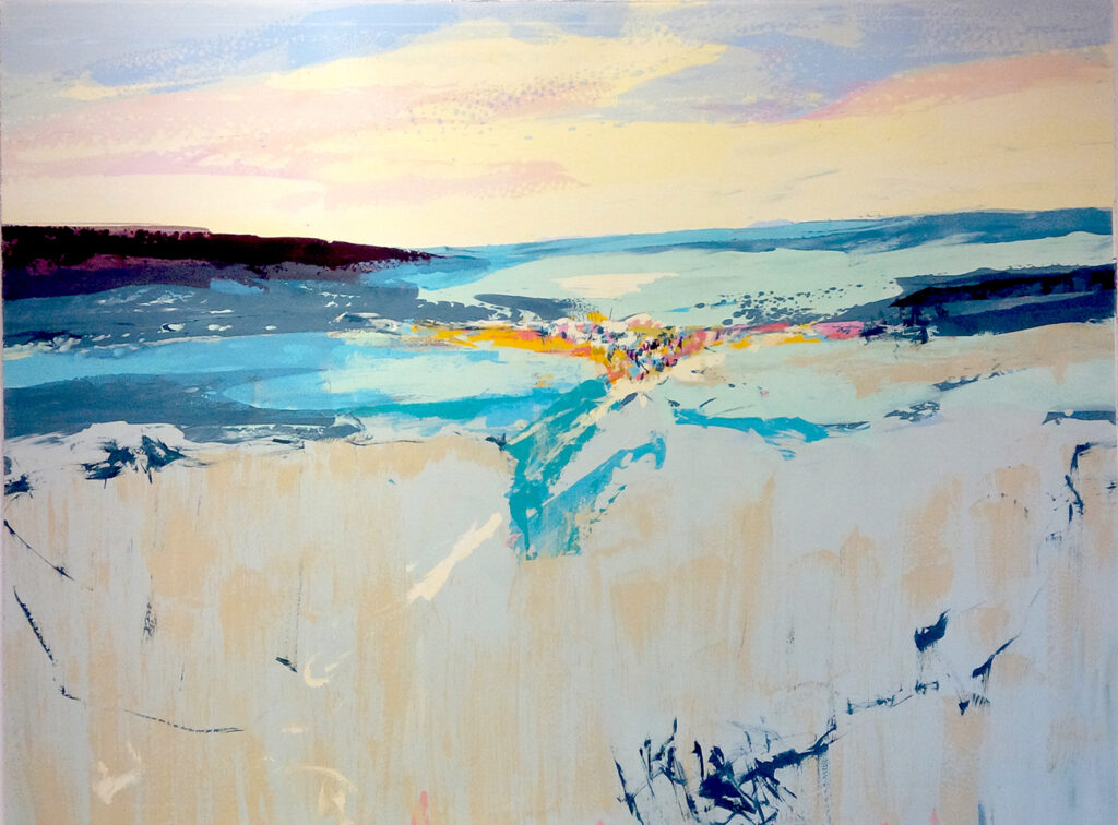 Wide Sea Silkscreen Painting Gail Mason