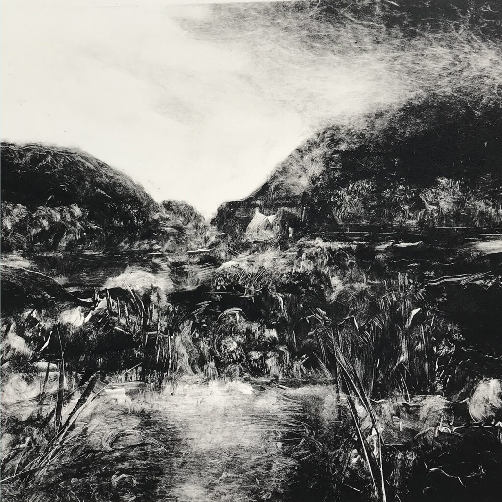 Waterside oil monotype Gail Mason