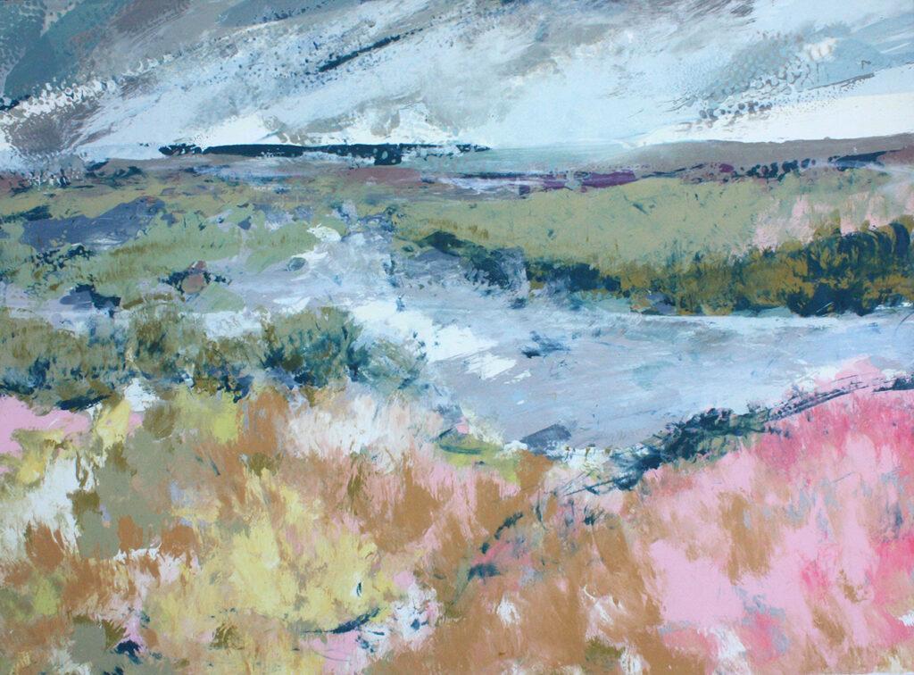 Pink Landscape Silkscreen Painting Gail Mason