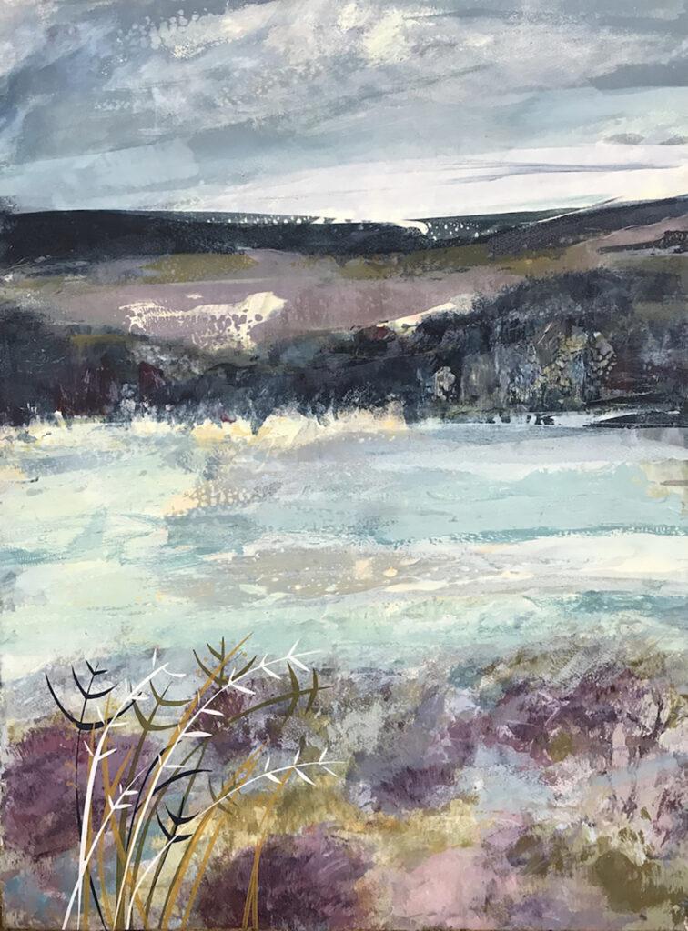 Chalk Hills Silkscreen Painting Gail Mason