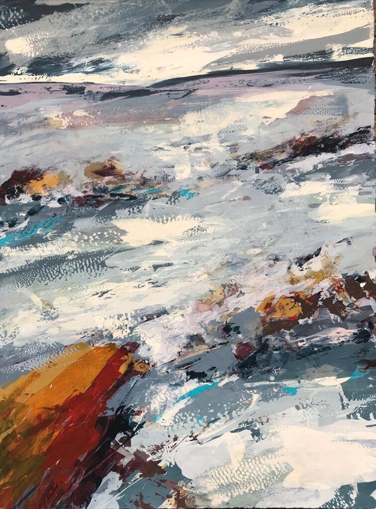 Red Rocks Silkscreen Painting Gail Mason